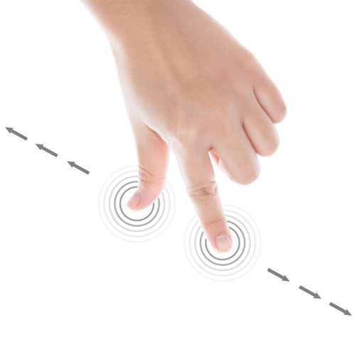 Interactive hand touching buttons