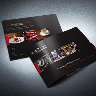 Brochure design for West Lothian based, The Full Range.