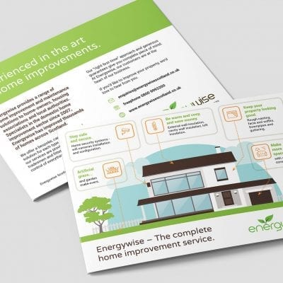 Graphic design of promotional leaflets for Energywise Scotland.