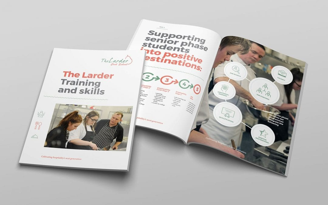 Graphic design and publishing services for The Larder Cook School, West Lothian.