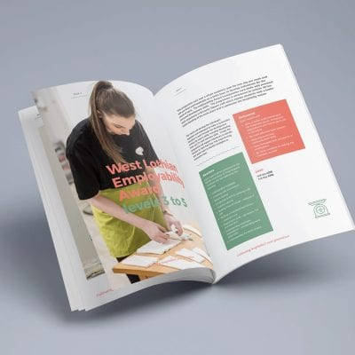 Graphic design of a range of brochures for The Larder Cook School West Lothian.