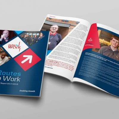 Annual report design and publishing for Lanarkshire based Routes to Work.